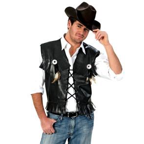 Western Cowboy Weste schwarz mit Fransen Bikerweste