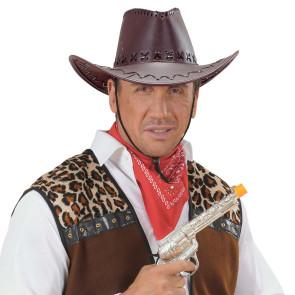 Cowboyhüte braun Leder Look Karneval und Fasnacht