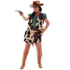 Junge Frau in Cowgirl Kostüm mit Kuhfellmuster