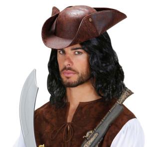Piraten Hut in braun mit Leder Antik Aussehen