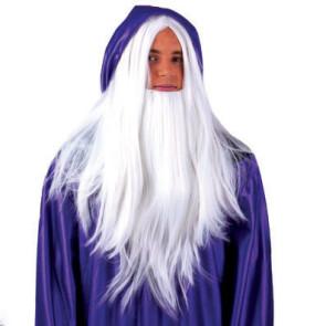 Perücke mit Bart in weiß für Druiden und Fantasy