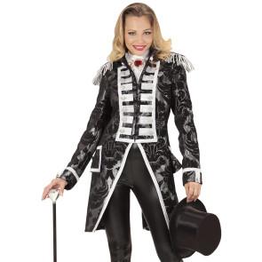 Schwarz silber Frack Jacke für Damen