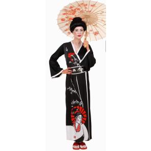 Frau als japanische Geisha verkleidet in schwarz rot