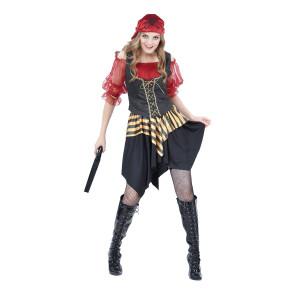 Faschingskotüm Piratin Seeräuberin günstig. Rock mit Bluse und Kopftuch Gr. 38 - 42