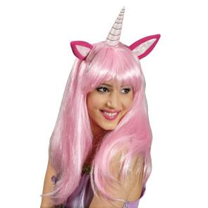 Einhorn Perücke mit Ohren in rosa