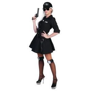 Kostüm für die FBI Agentin: Kleid in schwarz mit  Aufdruck, FBI-Cap, Gürtel