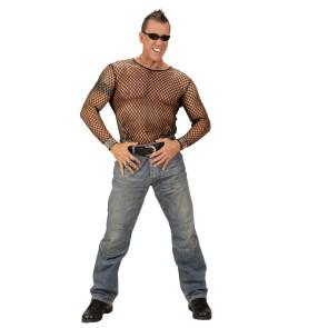 Mann im Fischnetz Shirt langarm, schwarz mit Jeans