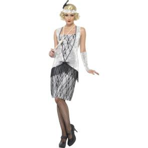 20er Jahre Flapper Kostüm silber