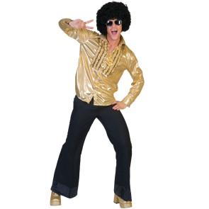 Junger Typ im Disco Look mit Afroperücke und Brille
