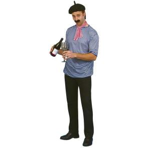 Franzose mit Mütze und Rotwein