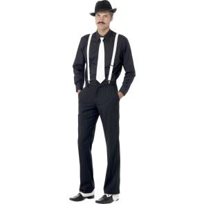 Mann mit Set zum verkleiden als Ganove und Gauner mit Gamaschen