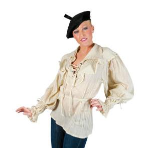 Frau mit Bluse Rüschenhemd zum kombinieren in Creme