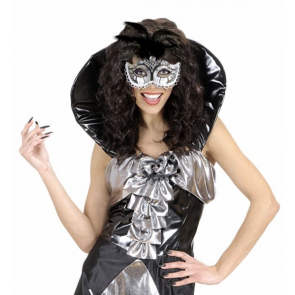 Venezianische Maske mit Edelstein Imitat und aufwendigen Federn