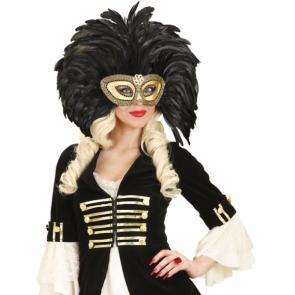 Augenmaske gold mit schwarzen Federn