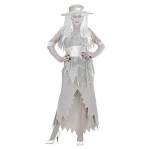 Geisterkostüm als Gruselgräfin in weiß grau