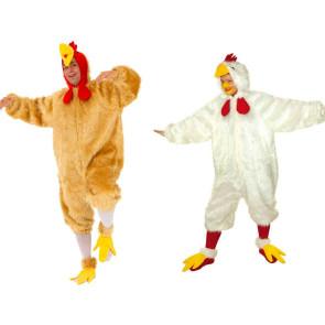 Mann und Frau als Hahn und Huhn im Partnerlook