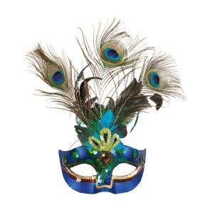 Maske mit Pfauen Federn Paradies Vogel