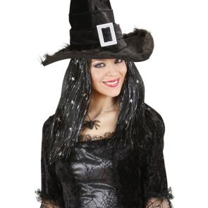 Hexenperücke mit Hexenhut Glitter und Sternchen Hut Hexe
