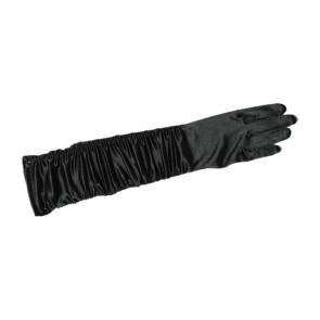 Gala Handschuhe, gerafft in schwarz