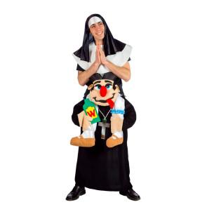 Huckepack Kostüm Nonne und Pfarrer