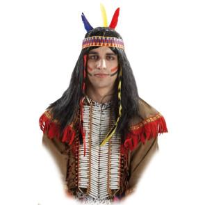 Indianer Perücke Herren lang in schwarz mit Zöpfen