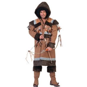 2-Teiliges Ethno Kostüm als Inuit Mann. Oberteil mit Kapuze und Überschuhe