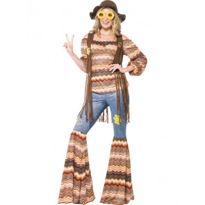 Hippie Hose mit Ethno Karma Oberteil, Fransenweste angenäht