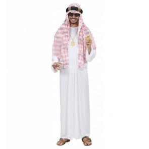 Arabischer Öl Scheich Kostüm in weiß mit rot gemustertem Kopftuch un Kopfring