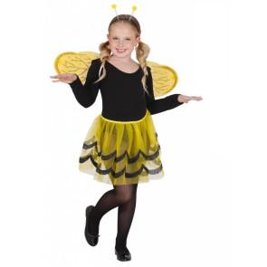 Mädchen mit Bienenset Rock, Flügel, Antennen schwarz gelb front