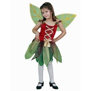 Mädchen Bild als Sommer Waldfee wie Tinkerbell verkleidet, grün - rot