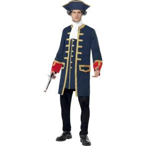 Mann im blauen historischen Frack als Freibeuter Kommander verkleidet front