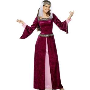 Frau als Burgdame Maid Marian verkleidet Samtkleid weinrot mit Schleier
