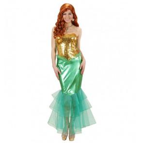 Frau als Meerjungfrau verkleidet mit rothaariger Perücke