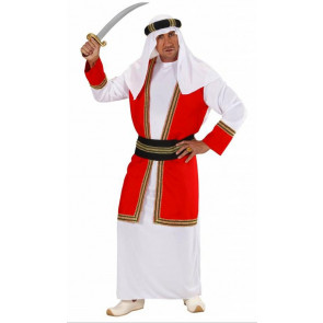 Mann als Araber verkleidet sieht aus wie ein Scheich rot weiß