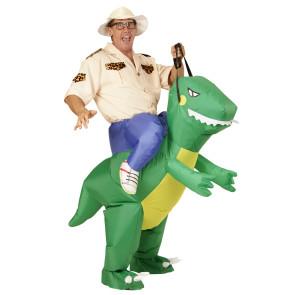 Aufblasbares Kostüm als Reiter mit Dinosaurier