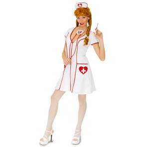 Krankenschwesterkostüm sexy in weiß mit roten Herzen. Gr. 34 bis 46