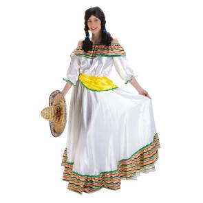 Frau im langen, weißen Mexikanerin Kostüm