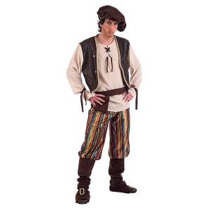 Mann verkleidet im Mittelalter Kostüm als Handwerker, Müller, Knappe oder Wirt