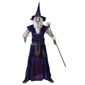 Mann als Zauberer mit grauen langen Bart wie Merlin der Zauberer verkleidet in violetter Robe inkl.Hut