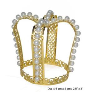 Krone Krönchen Prinzessin gold mit Perlen