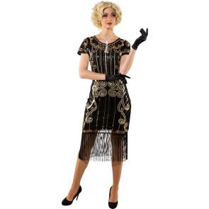 Frau mit langer Zigarettenspitze im Charleston Kleid schwarz und Federboa