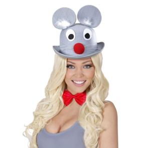 Maus Hut in grau mit lachendem Mäuschen
