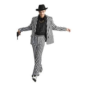 Anzug schwarz - weiß gestreift - breite Streifen