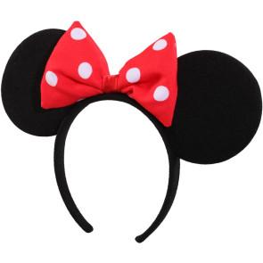 Haarreif mit Mausohren und roter Schleife - Maus Ohren