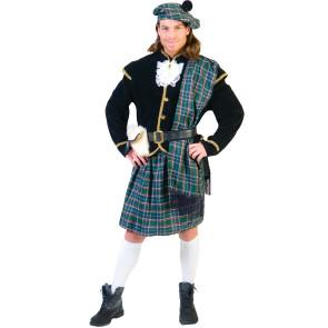 Schottenkostüm blau-grün krariert komplett als Schotte mit Mütze