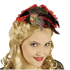 Minihut für Damen Dreispitz mit roten Spitzen