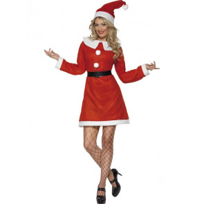 Miss Santa Costume, with Dress, Belt and Hat, in Display Bag