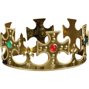 Mittelalter Krone mit Edelstein Imitat in gold