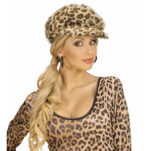 Leoparden Mütze in Plüsch mit Leoparden Fellmuster