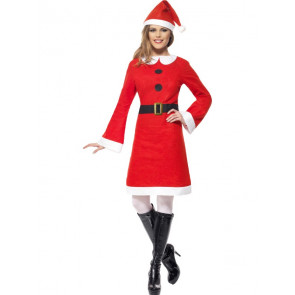Economy Miss Santa Costume, with Fleece Dress, in Display Bag
